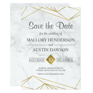 Marble Geometric Wedding Save the Date Card