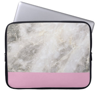 Marble Girly Minimal w/ Pink Color Block Laptop Computer Sleeve
