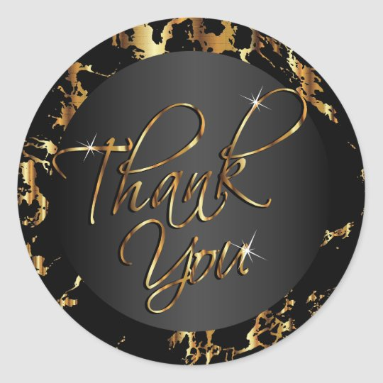 Marble Gold and Black - Thank You Classic Round Sticker