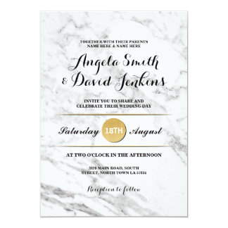 Marble Gold Elegant Wedding Art Deco 1920's Invite