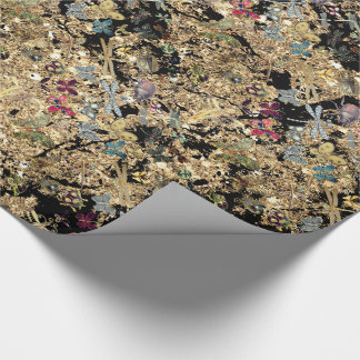 Marble Gold Meadow Butterfly Insects Gems Diamond Wrapping Paper