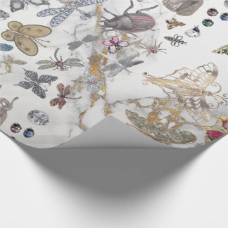 Marble Gray Gold  Meadow Butterfly Insects Gem Wrapping Paper