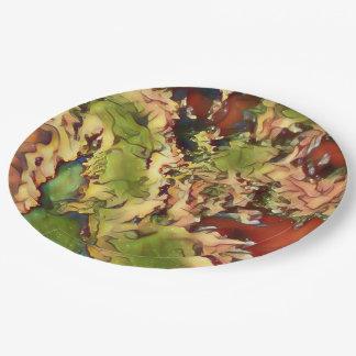 Marble Like Seasonal Festive Fall Colors Paper Plate