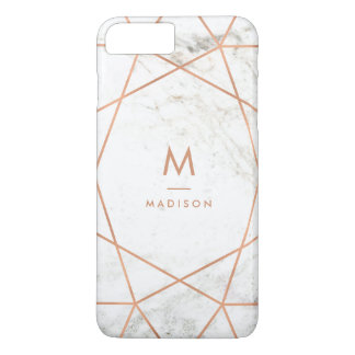 Marble Look with Faux Rose Gold Geometric Pattern iPhone 8 Plus/7 Plus Case