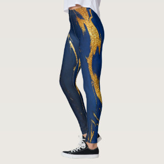 Marble Minimal Abstract Blue Navy Cobalt Gold Leggings
