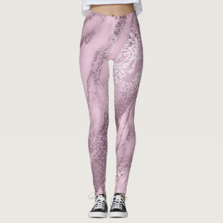 Marble Minimal Abstract Metallic Lilac Lavanda Pin Leggings
