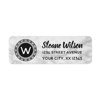 Marble Monogram Circle Return Address Label
