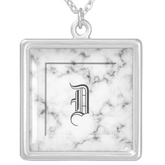 Marble monogram silver plated necklace