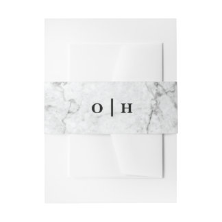 Marble monogram wedding invitation belly band