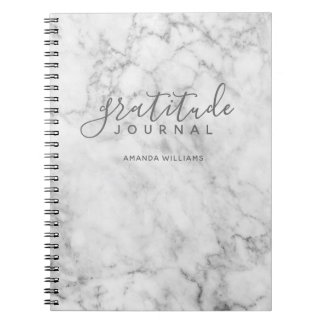 Marble Pattern Gratitude Journal - grey and white