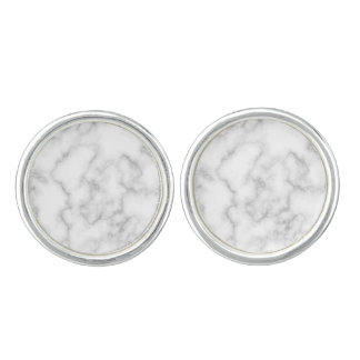 Marble Pattern Gray White Marbled Stone Background Cufflinks