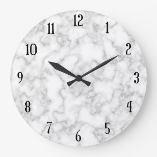 Marble Pattern Gray White Marbled Stone Background Large Clock