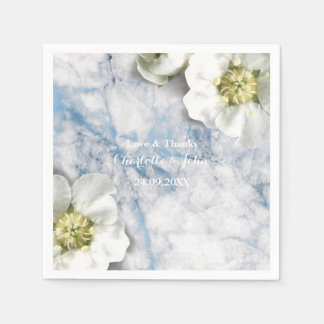 Marble Personalized Floral Gray White Blue Paper Napkin