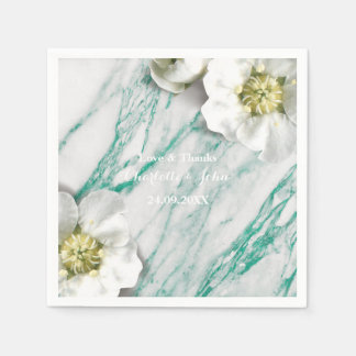 Marble Personalized Floral Tiffany White Mint Disposable Serviettes