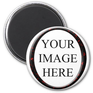 Marble Red Circle Frame Template 6 Cm Round Magnet