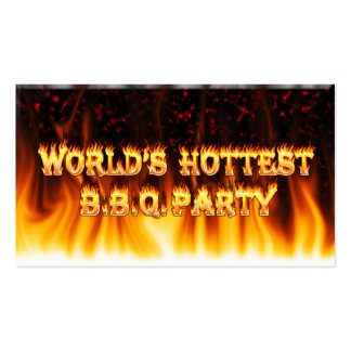 Marble Red World s Hottest BBQ Party Business Cards