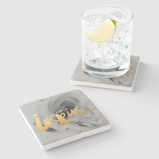 Marble reductor grey gold stone coaster