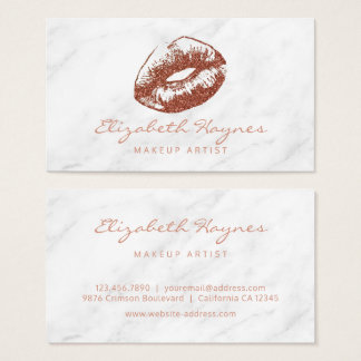 Marble Rose Gold Lips Lipstick Makeup Artist Business Card