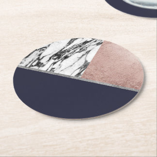 Marble Rose Gold Navy Blue Triangle Geometric Round Paper Coaster
