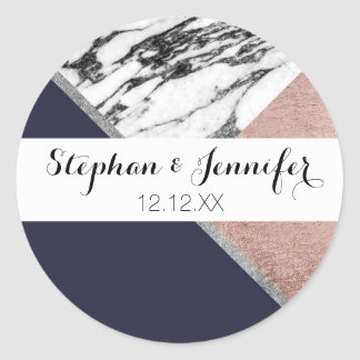 Marble Rose Gold Navy Blue Triangle Geometric Round Sticker