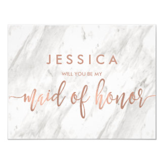 Marble & Rose Gold Will You Be My Maid of Honour Card