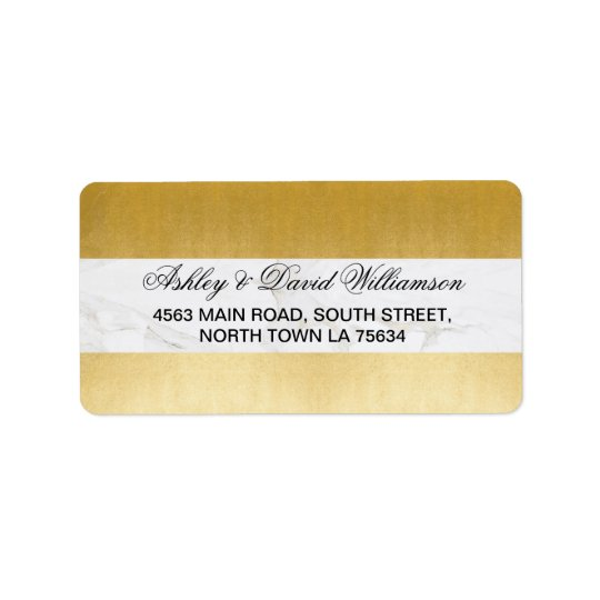 Marble Rose Print Wedding Address Label