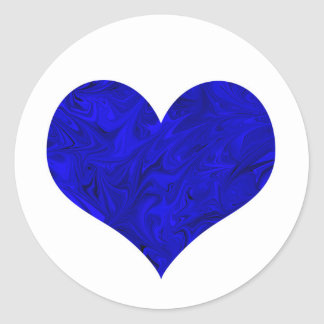 Marble Royal Cobalt Blue Heart Classic Round Sticker