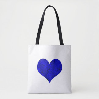 Marble Royal Cobalt Blue Heart Tote Bag