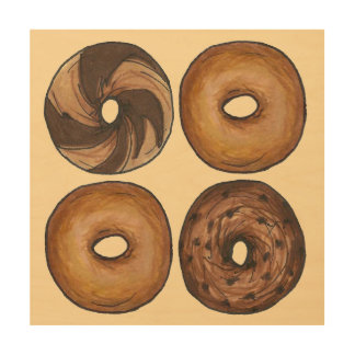 Marble Rye Plain Cinnamon NYC Breakfast Bagel Food Wood Wall Art