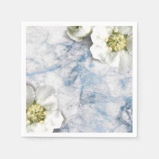 Marble Sapphire Blue White Jasmine Glitter Glitter Disposable Napkin