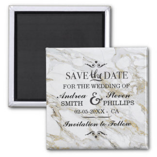 Marble Save The Date Elegant Magnet Wedding