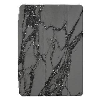 Marble Silver Gray Black Stone Gray Abstract Glitt iPad Pro Cover
