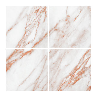 Marble Stone Abstract Coral Rose Gold White Canvas Print