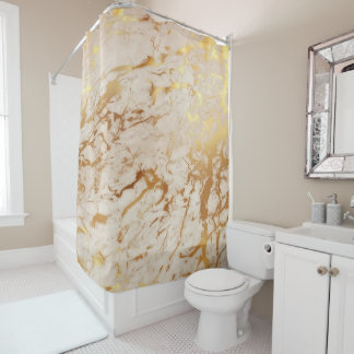 Marble Stone Abstract Creamy Carrara Gold Luxury Shower Curtain