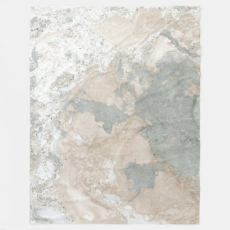 Marble Stone Abstract Creamy Carrara Ivory Gray Fleece Blanket