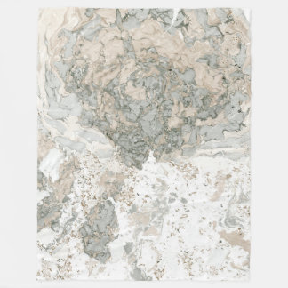 Marble Stone Abstract Creamy Carrara Ivory Luxury Fleece Blanket