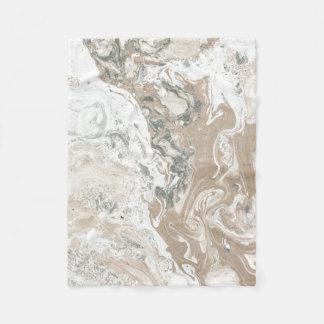 Marble Stone Abstract Creamy Ivory Beige Gray Fleece Blanket