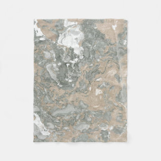 Marble Stone Abstract Creamy Ivory Cali Green Fleece Blanket