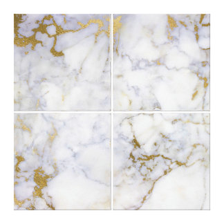 Marble Stone Abstract Gold Silver White Carrara Canvas Print