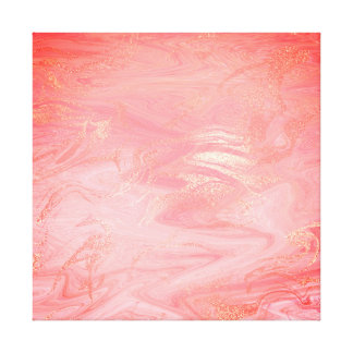 Marble Stone Abstract Golden Coral Bright Waves Canvas Print