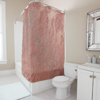 Marble Stone Abstract Metallic Coral Copper Luxury Shower Curtain
