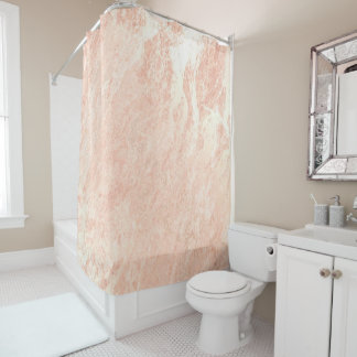 Marble Stone Abstract PastelCoral Rose Pink Copper Shower Curtain