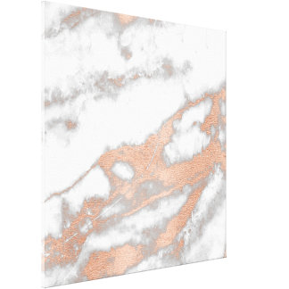Marble Stone Abstract RoseGold White Gray Carrara Canvas Print