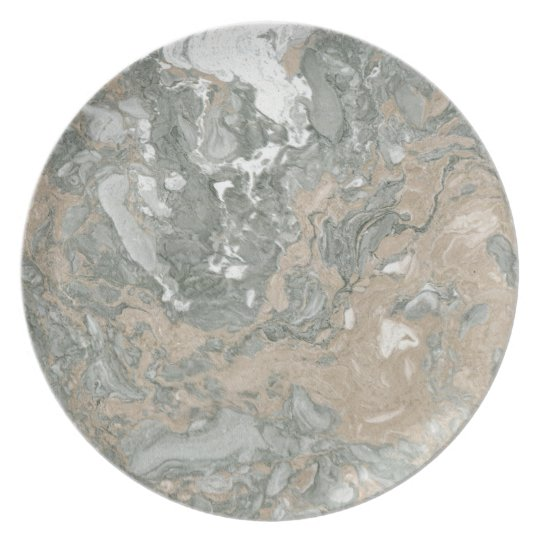 Marble Stone Abstract White Beige Ivory Deep Grey Plate