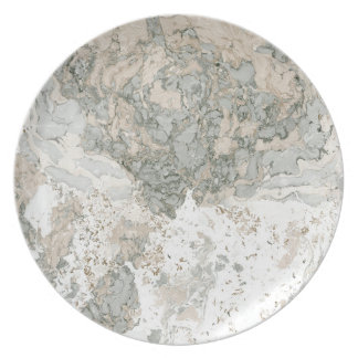 Marble Stone Abstract White Beige Ivory Lux Gray Plate