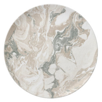 Marble Stone Abstract White Beige Ivory Urban Gray Plate
