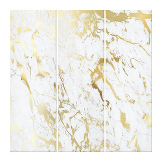 Marble Stone Abstract White Carrara Gold Luxury Canvas Print