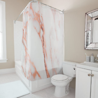 Marble Stone Abstract White Coral Rose Gold Copper Shower Curtain