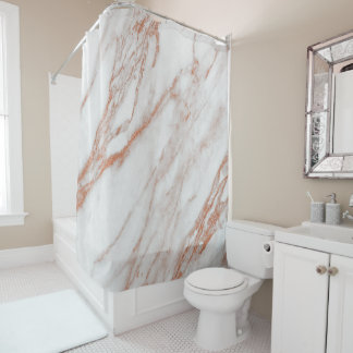 Marble Stone Abstract White Coral Rose Pink Copper Shower Curtain