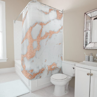 Marble Stone Abstract White Gray Rose Copper Gold Shower Curtain